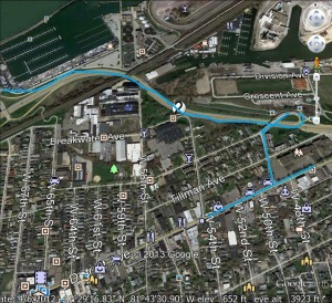 Captain America W Shoreway Detour map 4-18-1