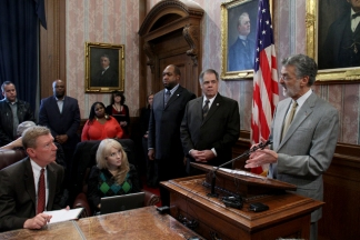 Mayor Jackson addresses members of the media during a press conference on the November 29th police incident.