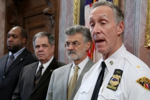 Police Chief Michael McGrath addresses members of the media during a press conference on the November 29th police incident.