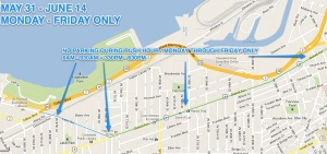 No Parking for West Shoreway Closure City Map Update on 5.28