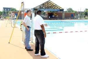 Mayor Jackson at the opening of Lonnie Burton pool for the 2013 summer.