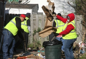 "City workers clean-up vacant lots every year during the annual ""Clean Cleveland"" event."