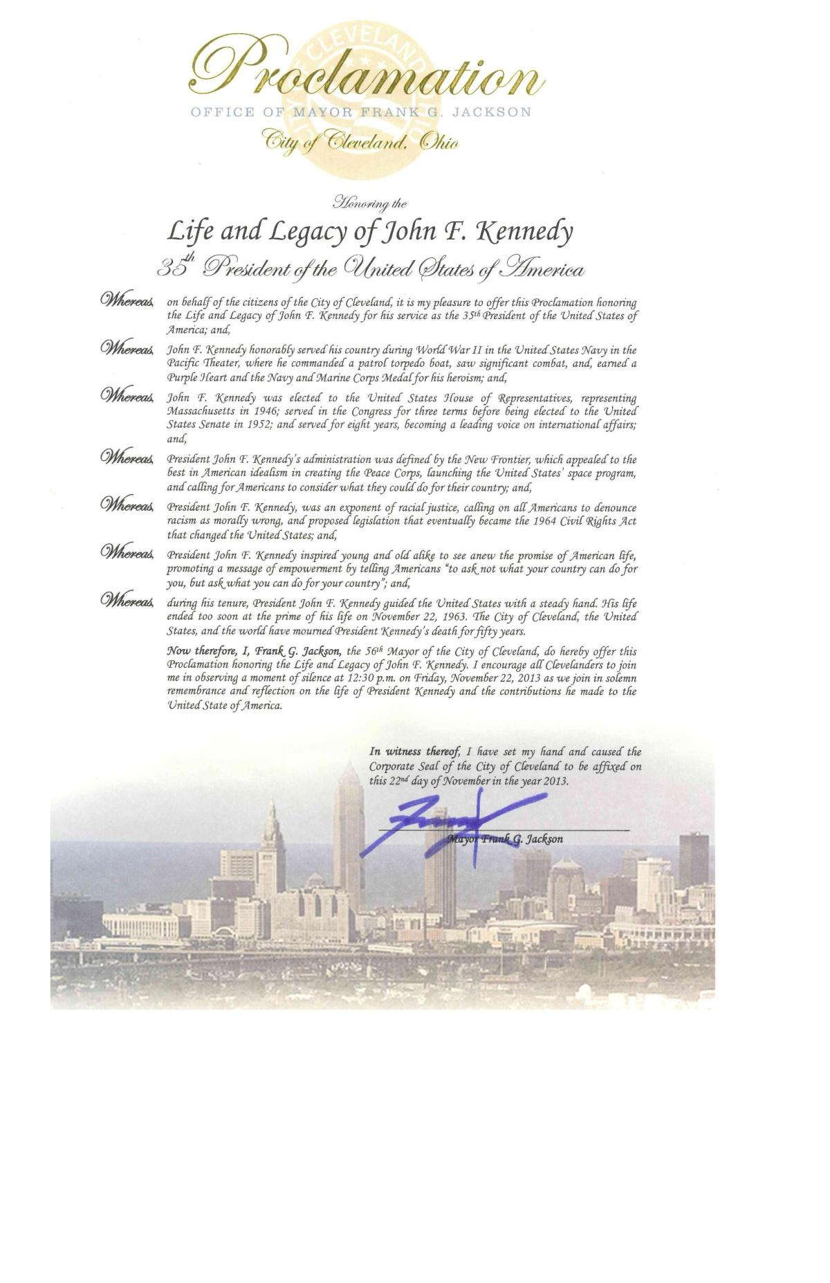 Proclamation for the 50th Anniversary of President Kennedy's Death