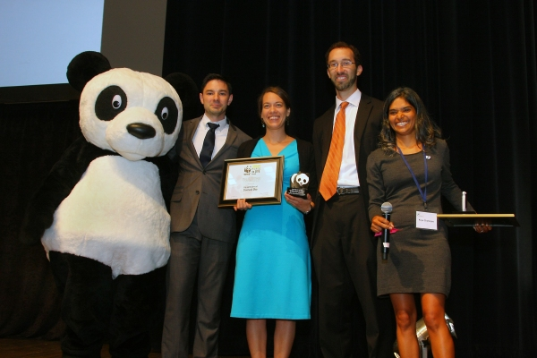 "Cleveland's Chief of Sustainability,  Jenita McGowan, accepting the WWF award for Cleveland being ""A Bright Place to Live"""