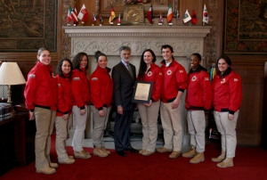 Mayor Jackson presents proclamation for National Day of Service recognition to members of City Year Cleveland.
