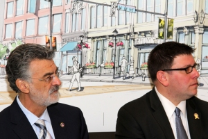 Mayor Frank G. Jackson and Councilman Joe Cimperman at the launch of the W. 6th Street enhancement project in 2013.