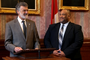 Mayor Jackson swears in Chief  Information Officer Donald Phillips. Photo Credit: Clare Walters