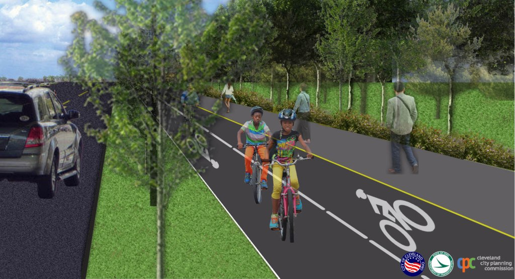 protected, separated bicycle track image