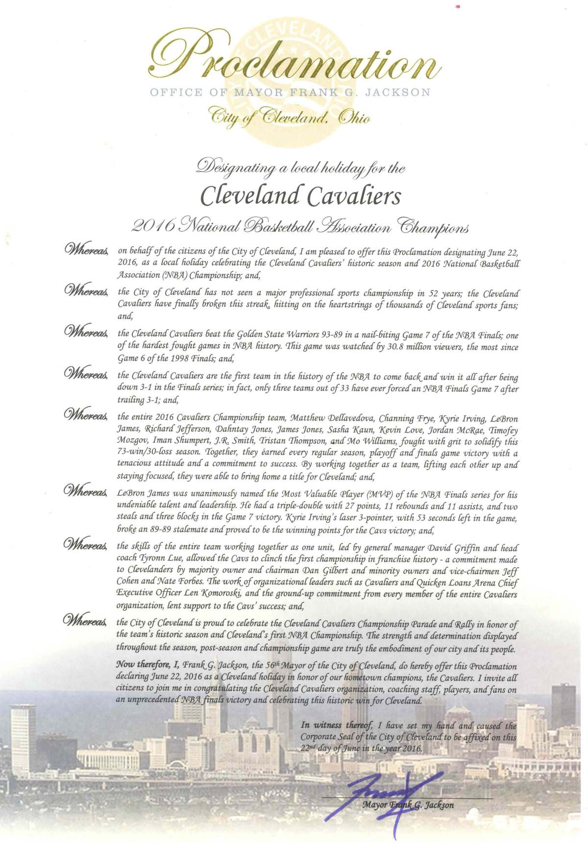 Cleveland Cavaliers Championship Parade and Rally Proclamation