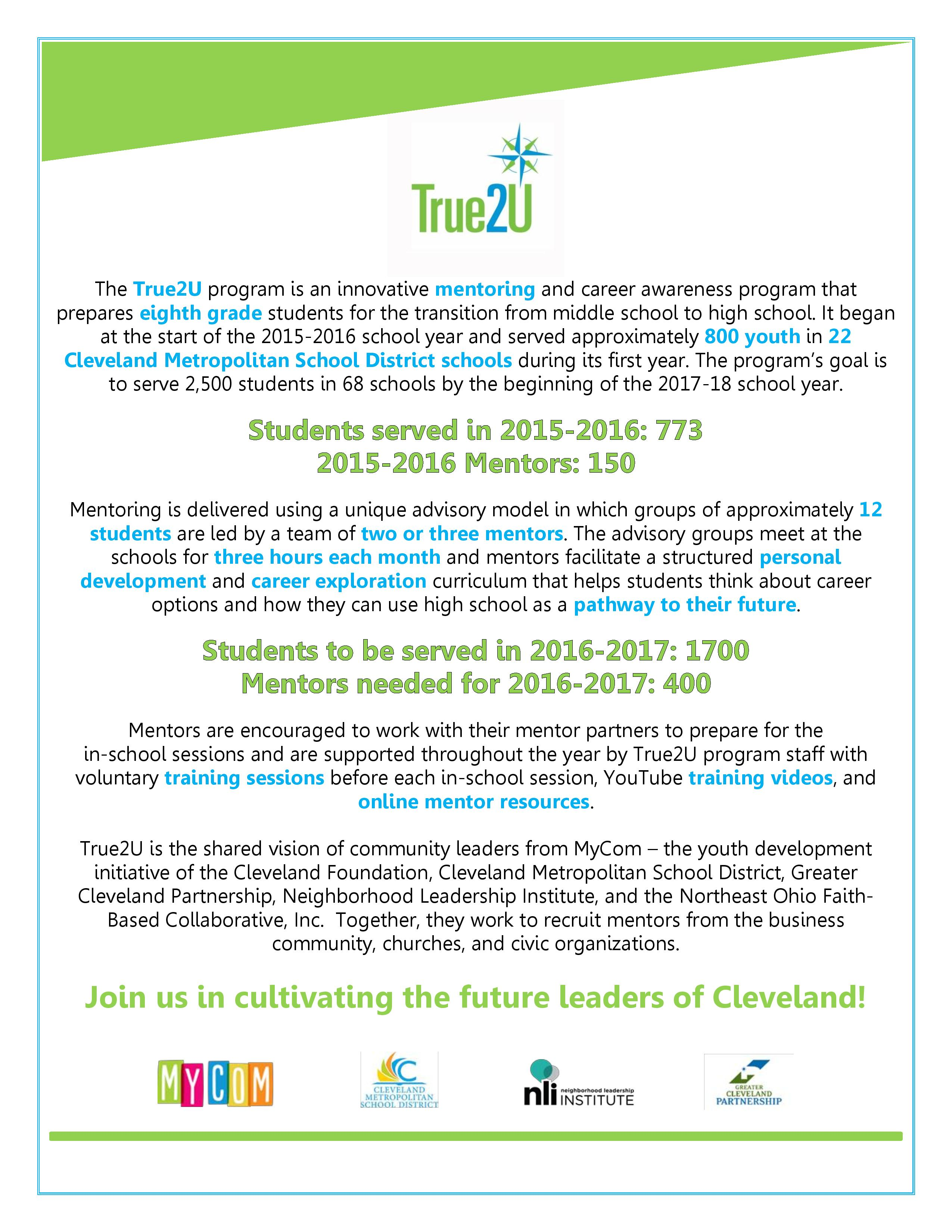 Become a Mentor with the Cleveland Metropolitan School