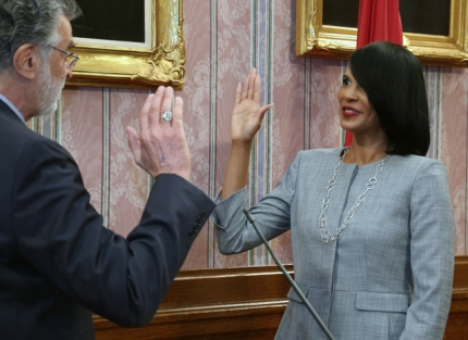 Tracy Martin-Thompson is sworn in as Chief of Prevention, Intervention and Opportunity for Youth and Young Adults.